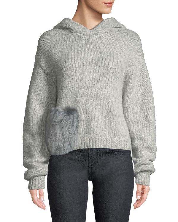 Tibi Alpaca Fur-pocket Hooded Pullover Sweater In Gray
