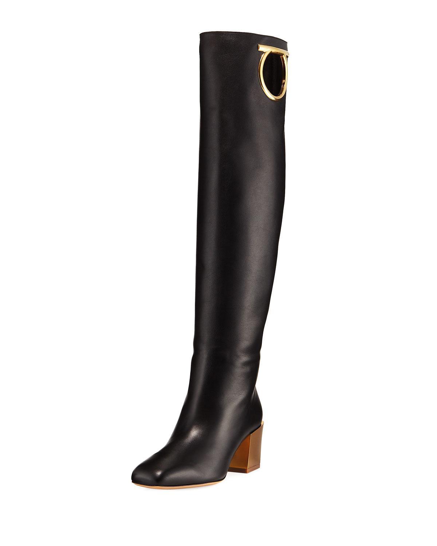 Salvatore Ferragamo Avio Knee-High Leather Boot In Black