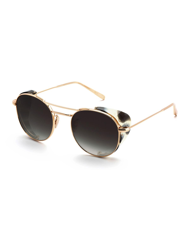 a89a8f084f13f Krewe Orleans Round Gradient Sunglasses W  Side Blinders In Titanium Bone