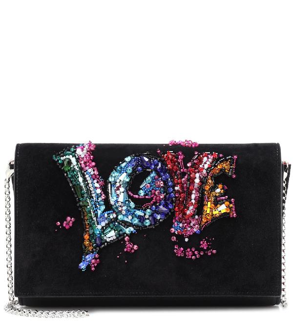 Paloma Love Embellished Suede Clutch Bag In Black
