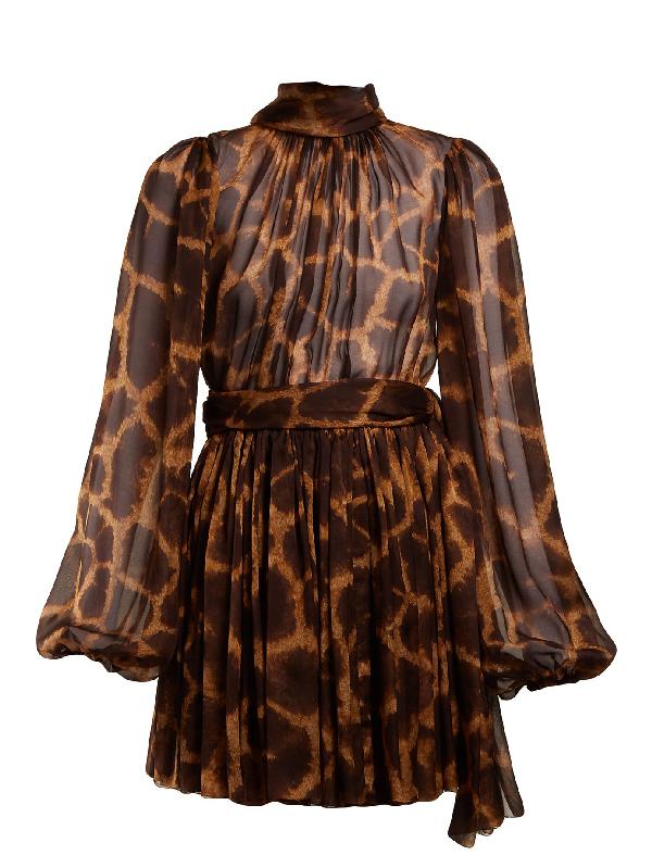 71a6fa616e0 Dolce   Gabbana Mock-Neck Long-Sleeve Giraffe-Print Chiffon Dress ...