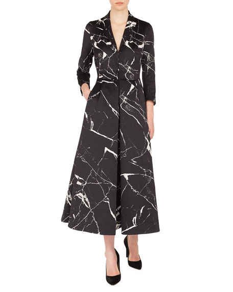 Akris Long-Sleeve Marble Tiles Jacquard Fit-And-Flare Coat Gown In Black
