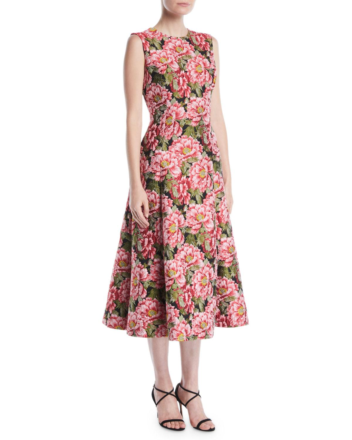 94224f3bdfef1 Escada Sleeveless Floral-Jacquard Fit-And-Flare Midi Day Dress In Red  Pattern