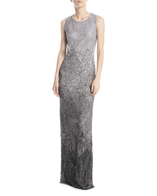 5ce5cda05e8 Jenny Packham Alina Sleeveless Round-Neck Degrad Eacute  Beaded Evening Gown  In Silver