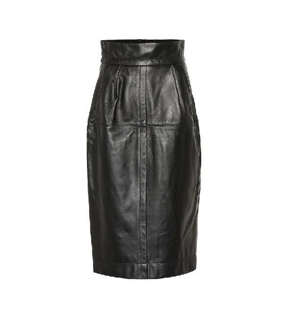 0def5942a1 Marc Jacobs High-Waist A-Line Midi Lamb Leather Skirt In Black ...