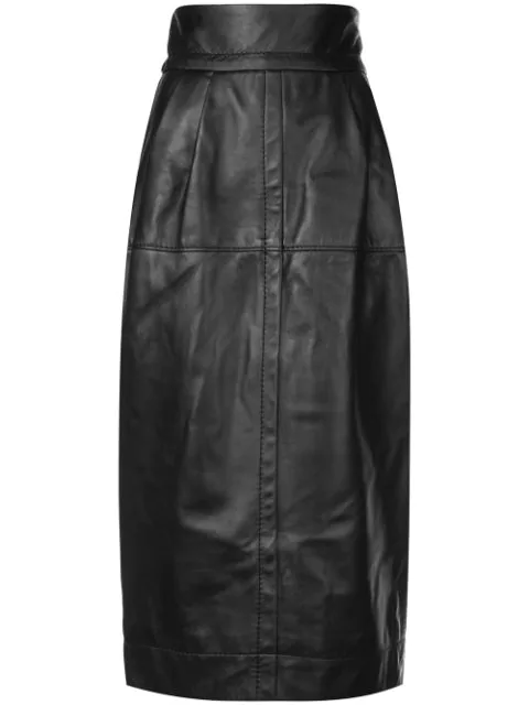 Marc Jacobs High-Waist A-Line Midi Lamb Leather Skirt In Black