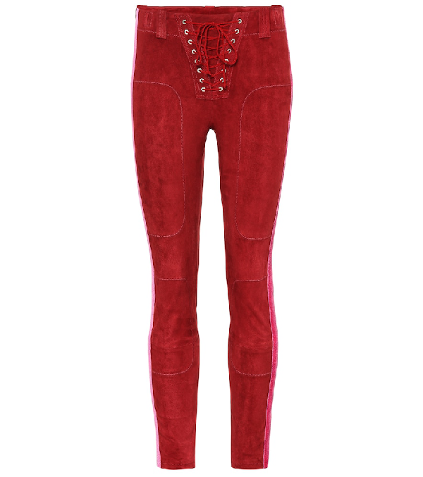 Ben Taverniti Unravel Project Lace-up Side-stripe Suede Football Pants In Red