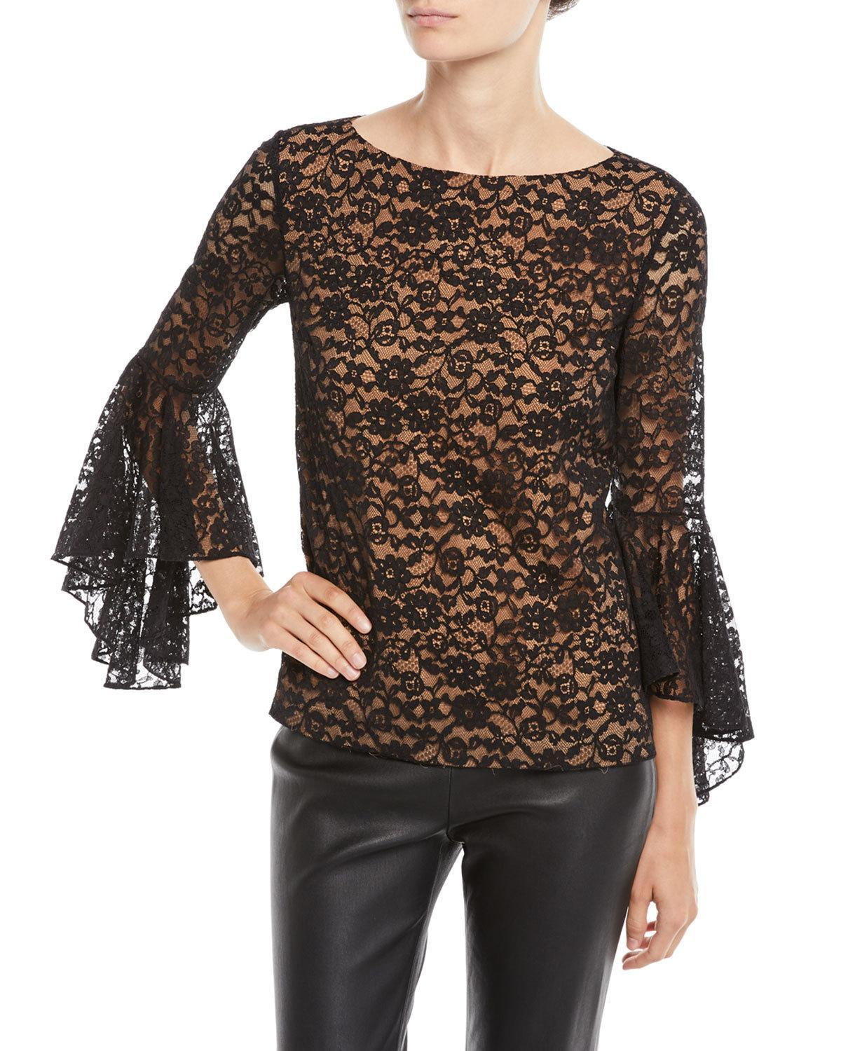Michael Kors Round-Neck Bell-Sleeve Floral-Lace Top In Black