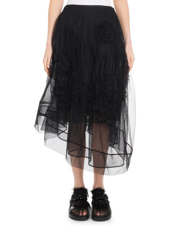 Simone Rocha Organza Asymmetric-Hem Tulle Skirt In Black