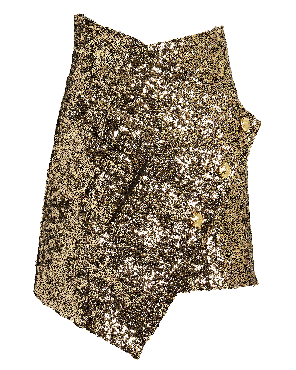 Redemption Asymmetrical Gold Sequin Skirt