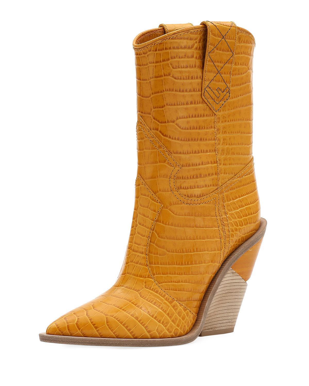 e8b788b88ec Fendi Short Stamped Western Booties In Ocra | ModeSens