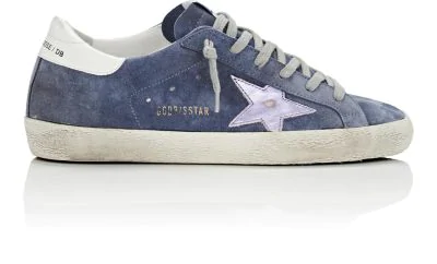 Golden Goose Superstar Suede Low-Top Sneakers With Leather Star In Blue