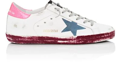 Golden Goose Superstar Paint-Leather Low-Top Platform Sneakers, White/Pink/Purple