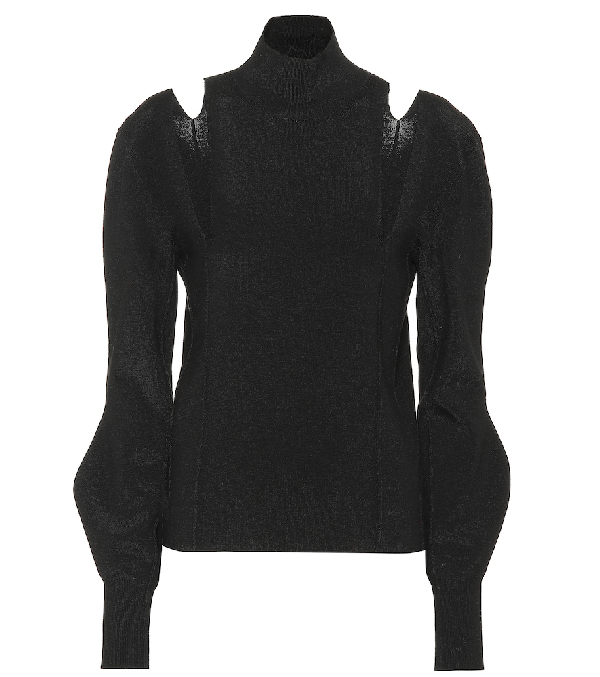 ChloÉ Turtleneck Cutout-shoulder Long-sleeve Knit Cashmere Sweater In 001 Black