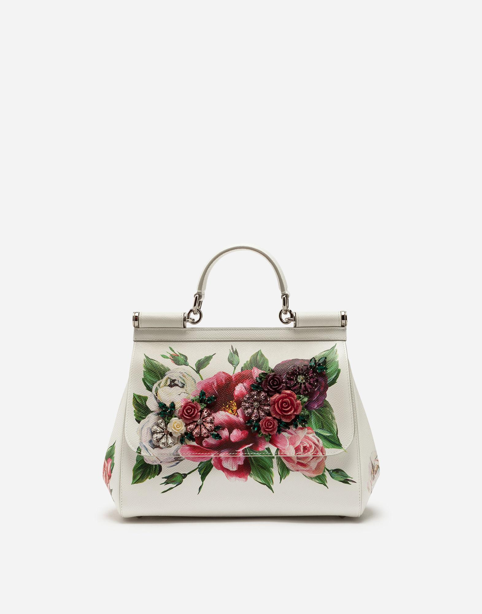 dce03c6aa2 Dolce   Gabbana Medium Sicily Bag In Peony-Print Dauphine Calfskin In Cream