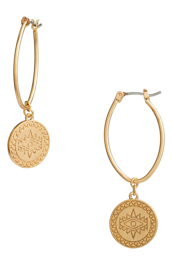 Rebecca Minkoff Etched Coin Hoop Earrings In Gold