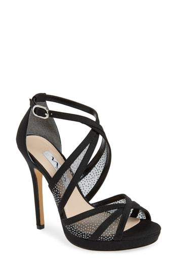 5c9a3b240d6 Nina Fenna Strappy Platform Sandal In Black Matte Satin