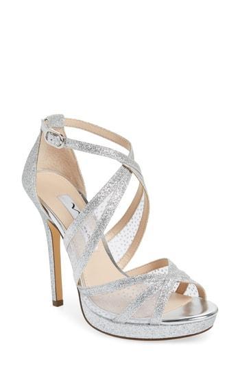 797b5b7570ed Nina Fenna Strappy Platform Sandal In Silver Glitter Fabric