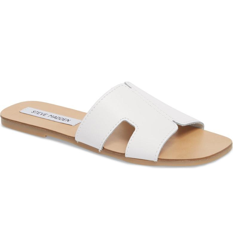 5f2260c6f90 Steve Madden Sayler Slide Sandal In White Leather