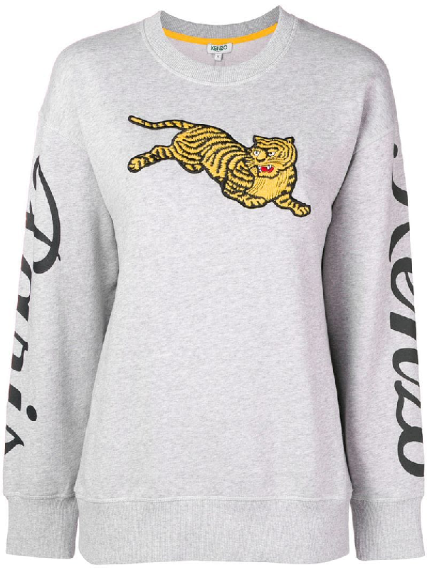 d218fdc3dee Kenzo Jumping Tiger Grey Sweatshirt With Maxi Patch