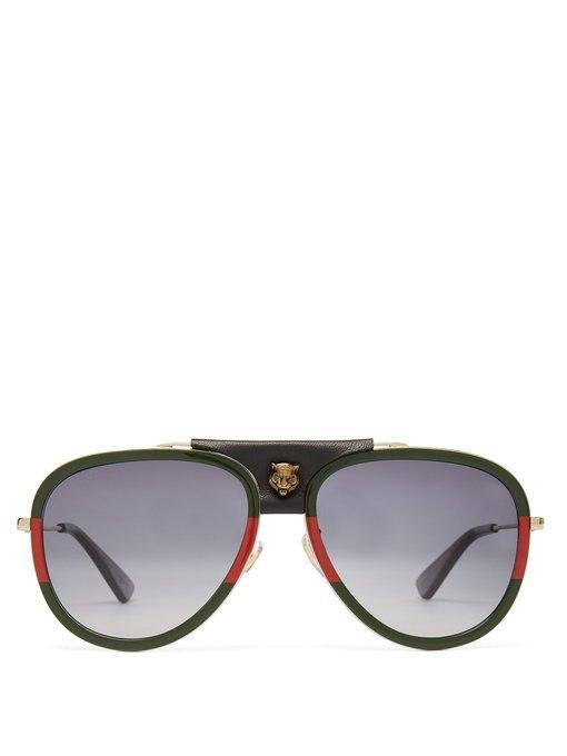 6dc1f5cfce03b Gucci - Web Striped Aviator Sunglasses - Mens - Green