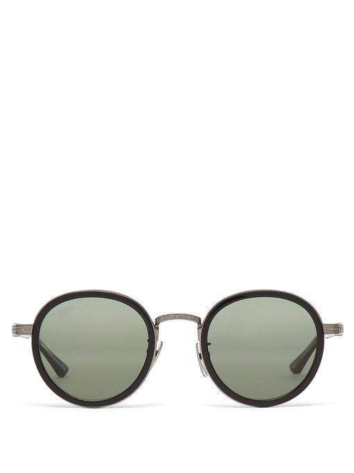 e4e3351e99a Gucci - Round Frame Metal And Acetate Sunglasses - Mens - Black ...