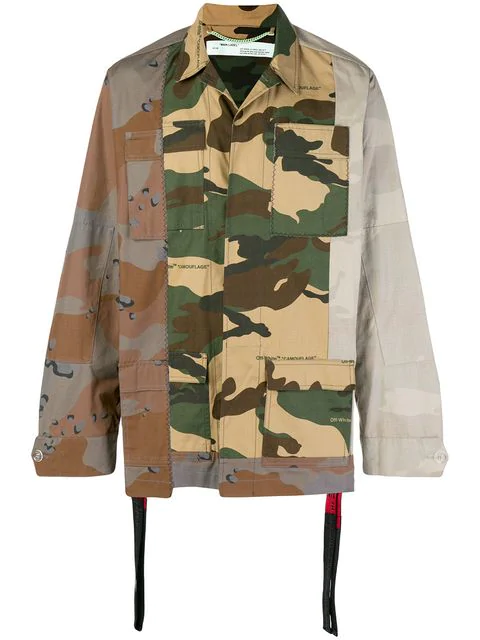 10e150c025f1a Off-White Reconstructed Cotton Camo Field Jacket In Brown | ModeSens