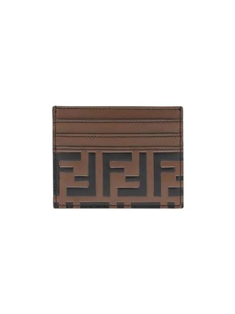 Fendi Logo-Embossed Leather Cardholder In F0H3C-Maya+Black+Palladium