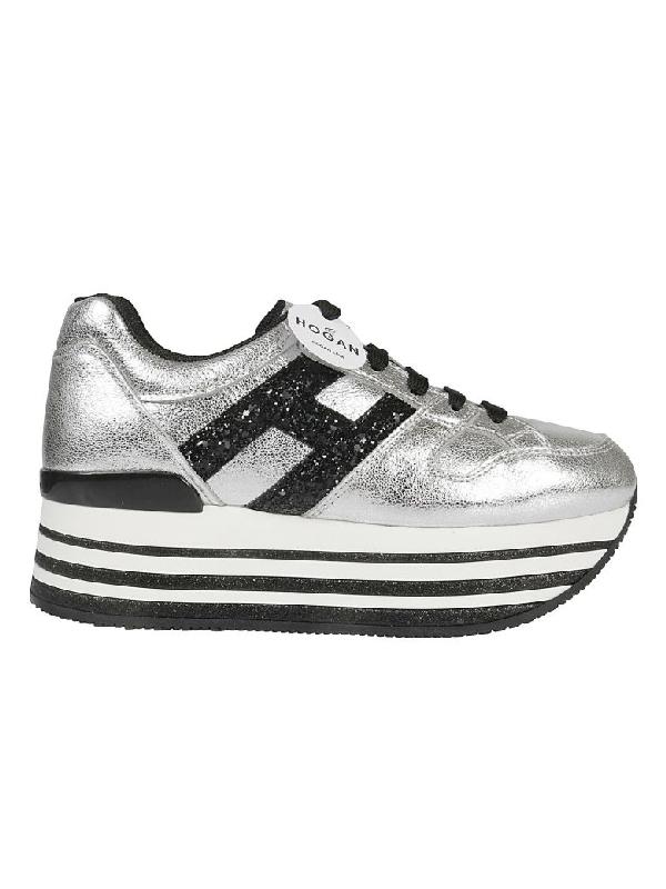 Hogan Maxi H222 Platform Sneakers In Argento | ModeSens
