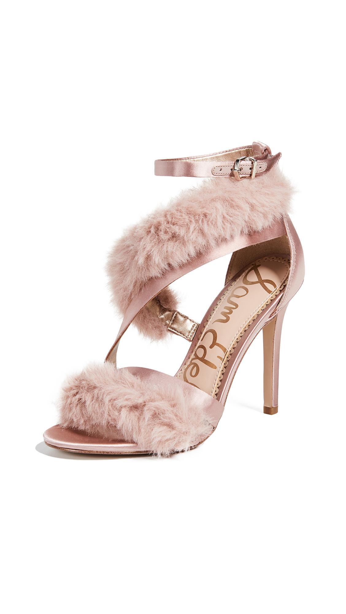 40801da4f2c2 Sam Edelman Adelle Satin And Faux-Fur Heeled Sandals In Crystal Pink ...