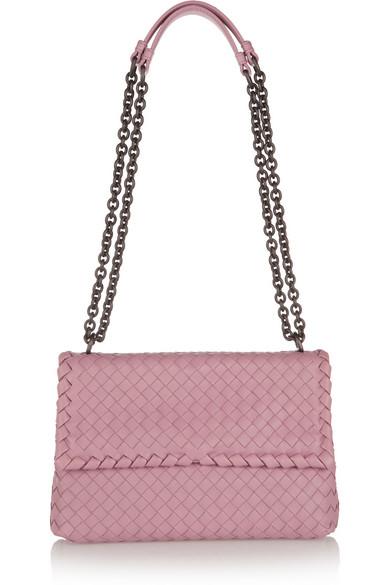 Bottega Veneta Olimpia Small Intrecciato Leather Shoulder Bag In Purple