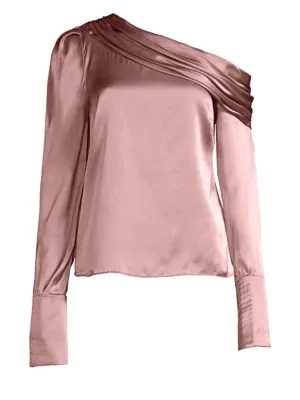 2ae86ceaa77b3 Amur Monica One-Shoulder Blouse In Dusty Rose