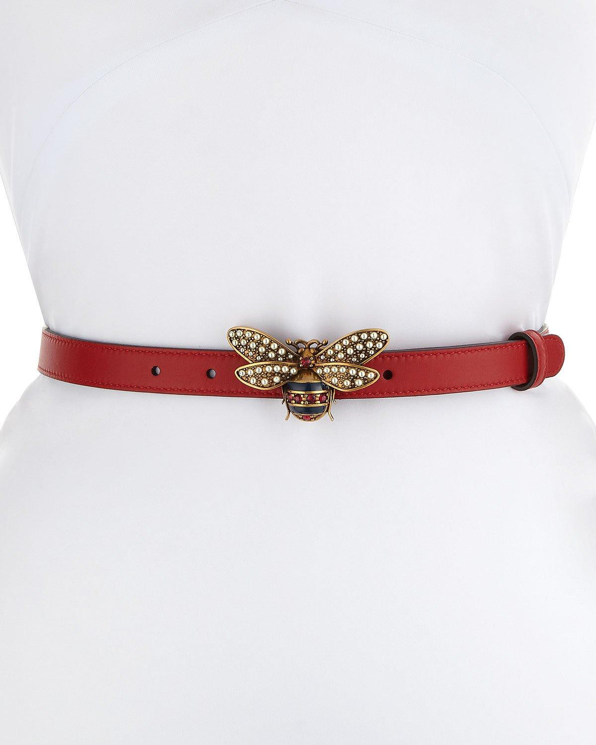 398ed0023 Gucci Queen Margaret Leather Belt W/ Embellished Bee Buckle In Black/White