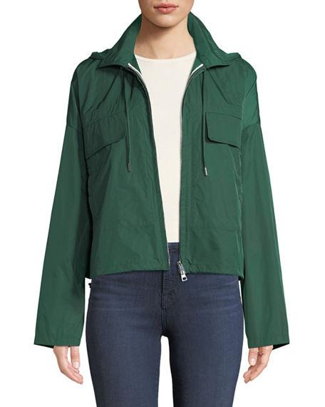 101a03d33f Theory Zip-Front Cropped Active Twill Anorak Jacket In Jungle Green ...