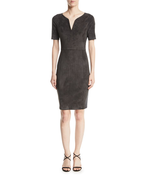 338d0df47574 Elie Tahari Emily Short-Sleeve Suede Sheath Dress In Charcoal | ModeSens