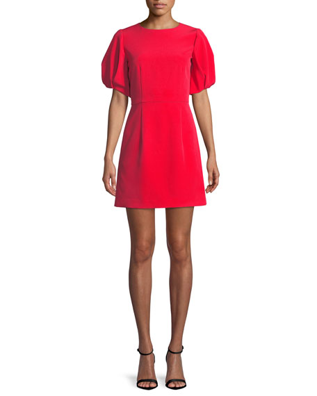 Milly Kyle Italian Cady Puff-Sleeve Dress In Ruby Red