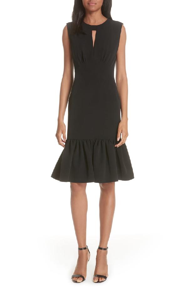 Milly Peyton Italian Cady Ruffled Dress In Black