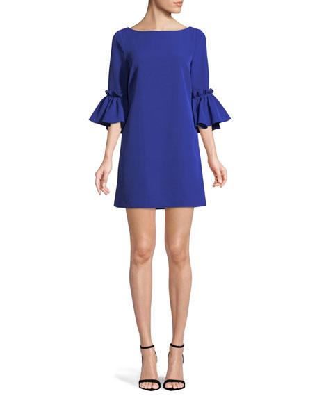 Milly Kinsley Italian Cady Shift Dress In Cobaltnavy