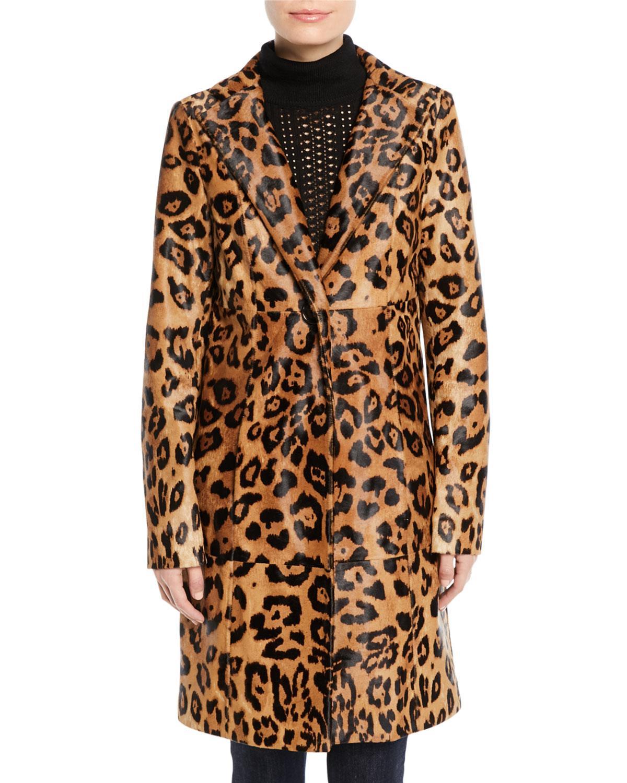 408f09e3828d Elie Tahari Angelina Leopard-Print Calf Hair Coat | ModeSens