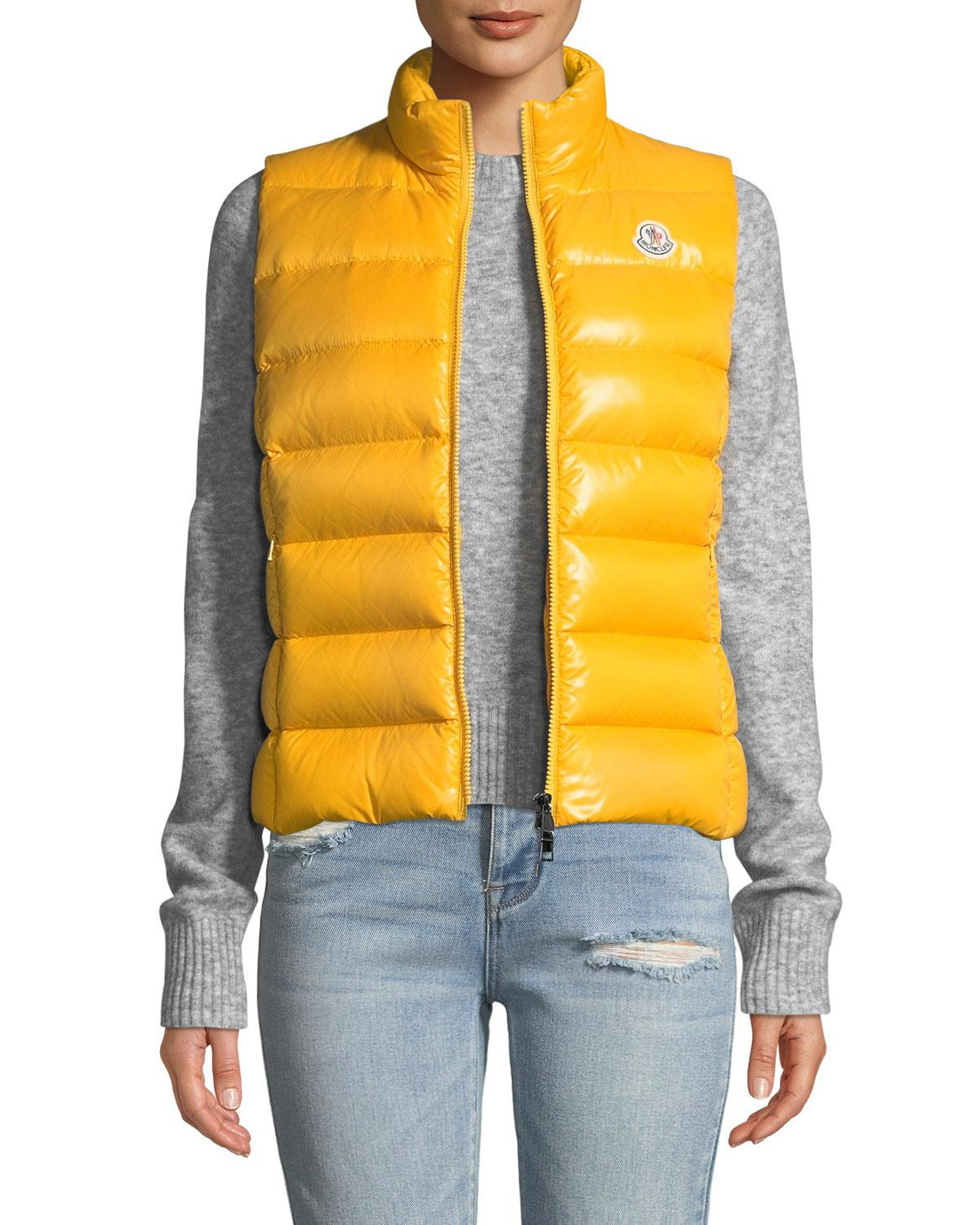 bc14cb42e Ghany Shiny Quilted Puffer Vest in Yellow