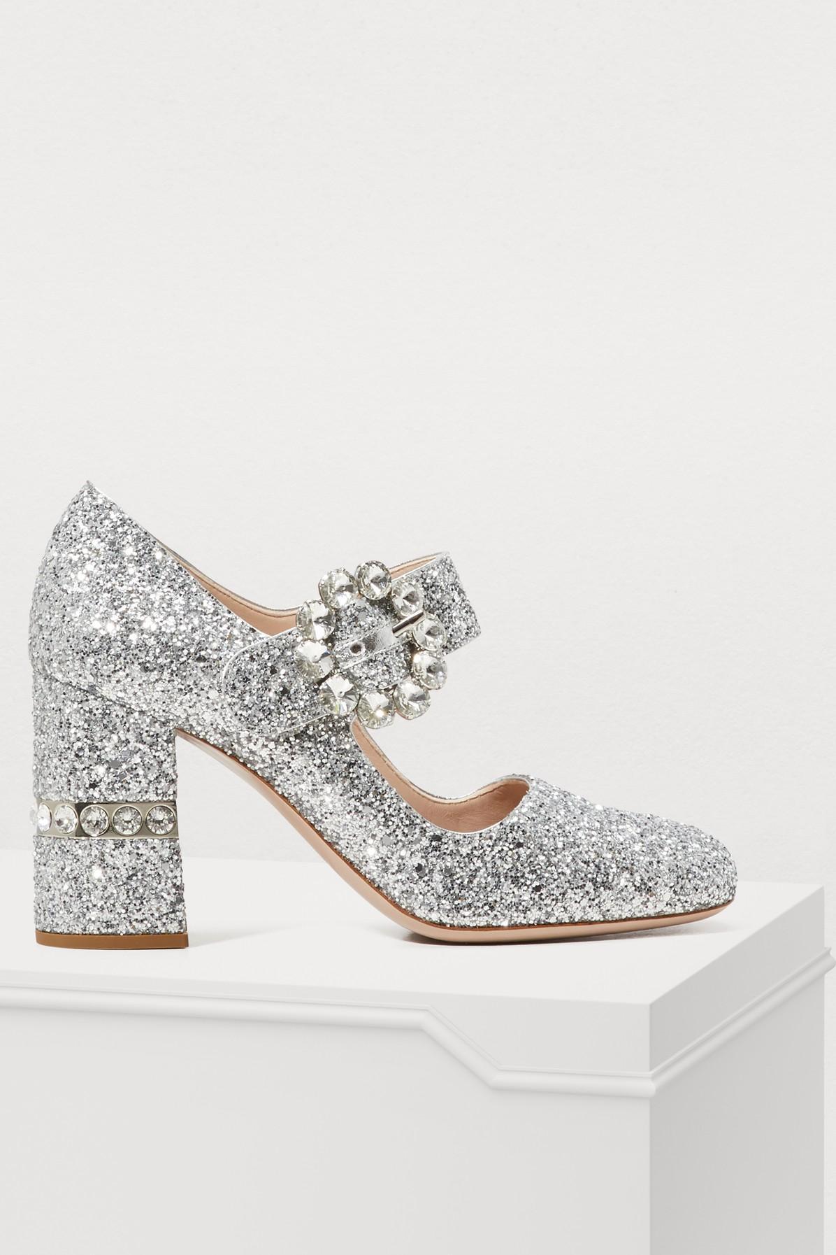 eaa98e5541f Miu Miu Glitter Mary Jane Pumps In Silver In Metallic