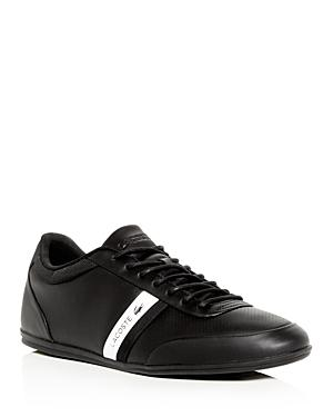 Lacoste Men's Storda Perforated Leather Lace Up Sneakers In Black/White