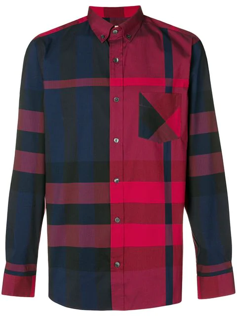 Burberry Large Check Shirt In Red
