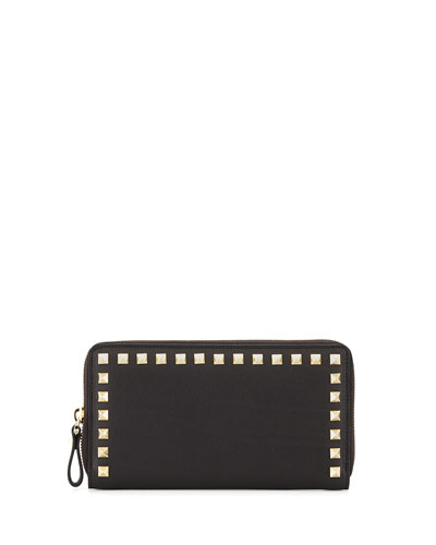 Valentino Rockstud Zip-Around Wallet In Black