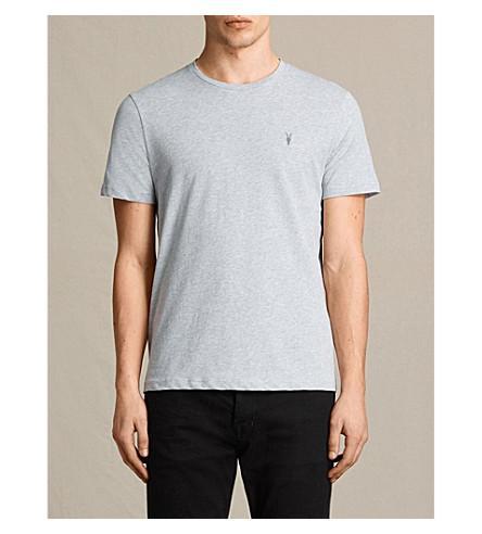 Allsaints Brace Crewneck Cotton-Jersey T-Shirt In Grey Marl