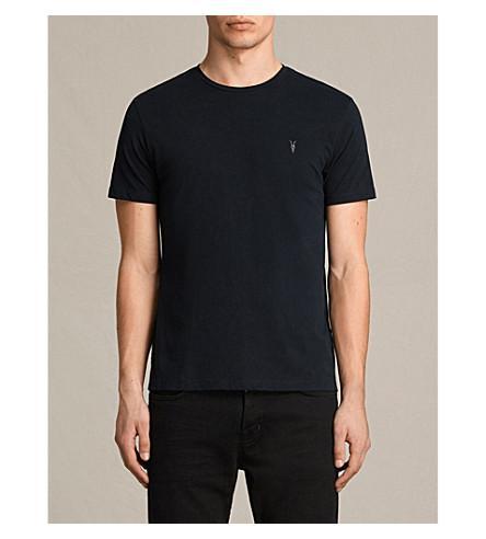 Allsaints Brace Crewneck Cotton-Jersey T-Shirt In Ink Navy