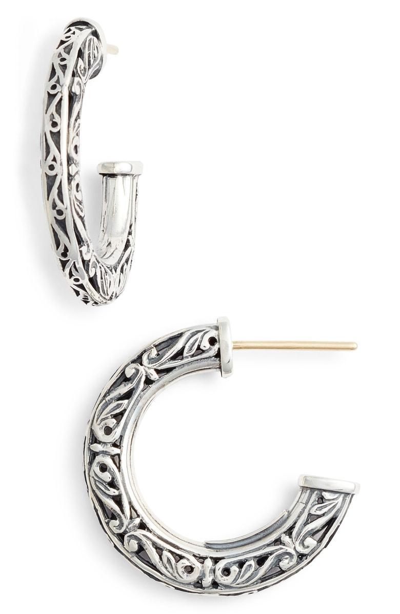 Konstantino Filigree Hoop Earrings In Sterling Silver