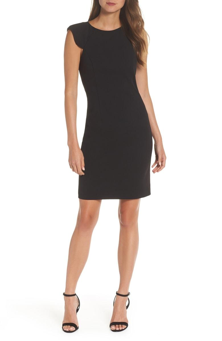 cc6e4080 Eliza J Extended Shoulder Sheath Dress In Black | ModeSens