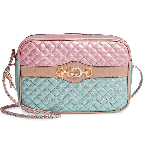 c0472c99098 Gucci Trapuntata Small Quilted Metallic Crossbody Camera Bag In Rose  Blue