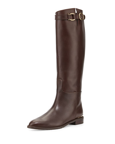Stuart Weitzman Bronco Leather Riding Boot In Walnut